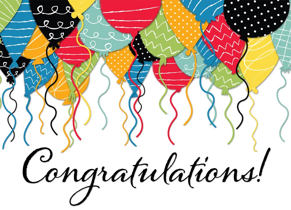 patterned balloon congratulations card CD9227 Z